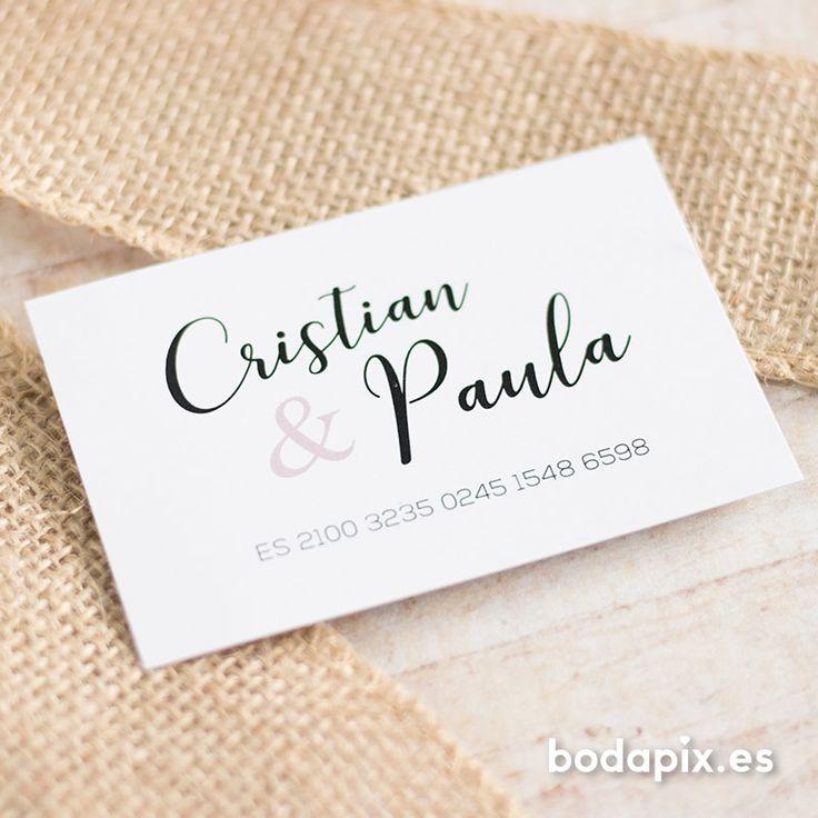Tarjeta con número de cuenta original para bodas – Modelo Ornamentals pink – Colección Bodapix #bodapix #bodas #invitaciones #wedding #weddinginvitations #cards #credditaccount