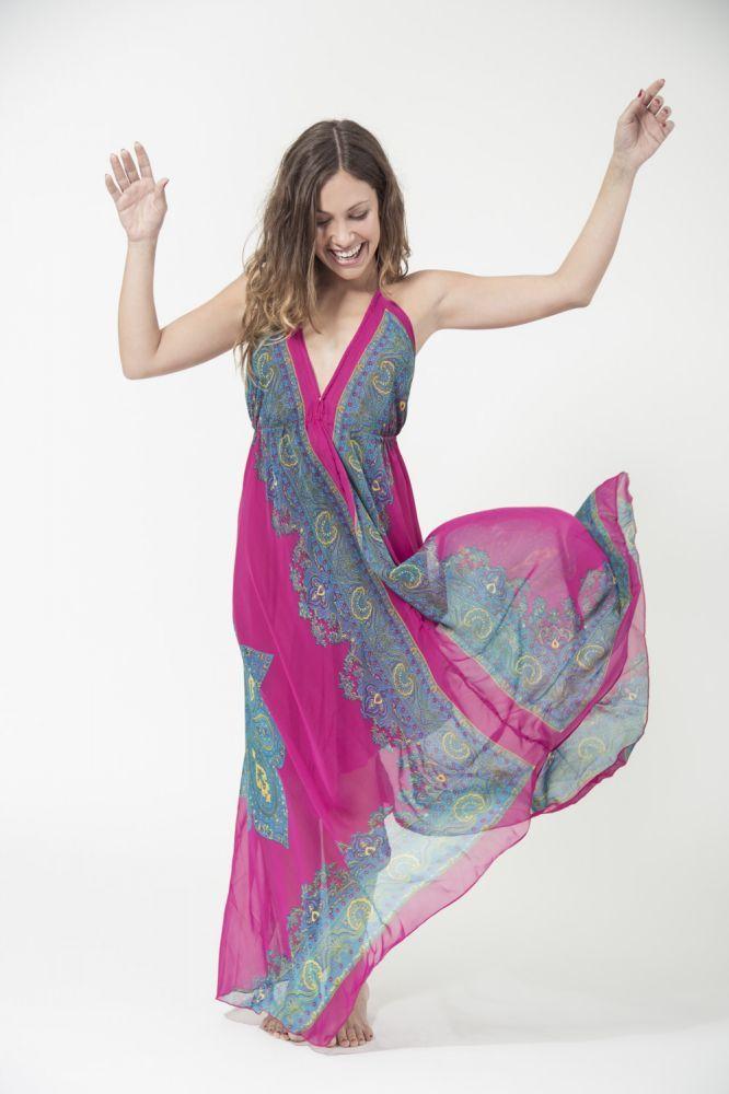 Vestido Largo Mistral, en gasa y con forro interior, su corte y tejido de calidad le proporcion un movimiento y vuelo espectacular. Ideal para fiestas, noche o de día. Disponible en cinco colores. #vestido #mistral #mujer #cocouse