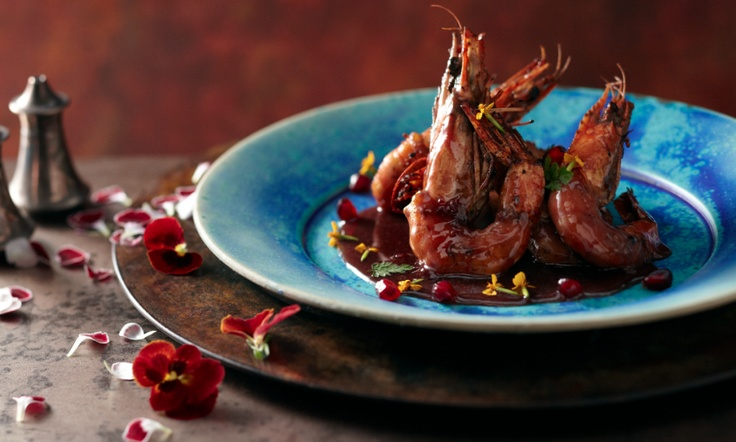 Roasted King Prawns in Pomegranate Butter by Chef Silvena Rowe