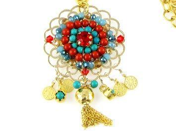 mandala ketting koraal turquoise close