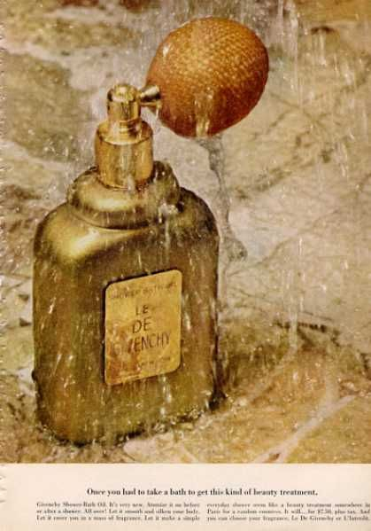 Givenchy Shower Bath Oil Bottle Print (1964); I wore this scent in late 60s, sprayed it on every page of letters to my boyfriend in college.