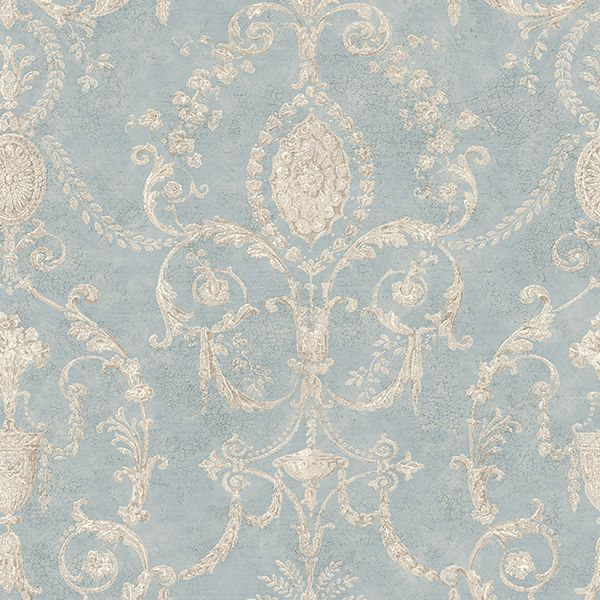 RW40500 Blue Damask Urn - Marche - Rustico Wallpaper by Raymond Waites