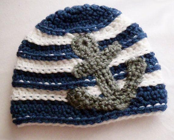 Anchors Away- Nautical Crochet Baby Hat in Navy, White and Medium Gray via Etsy