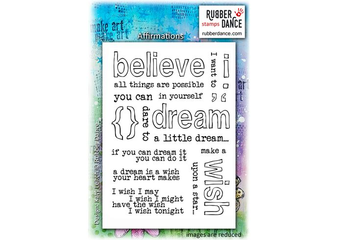 Affirmations. Sheet of UN-mounted, red rubber stamps. Stamp it like you mean it :-)