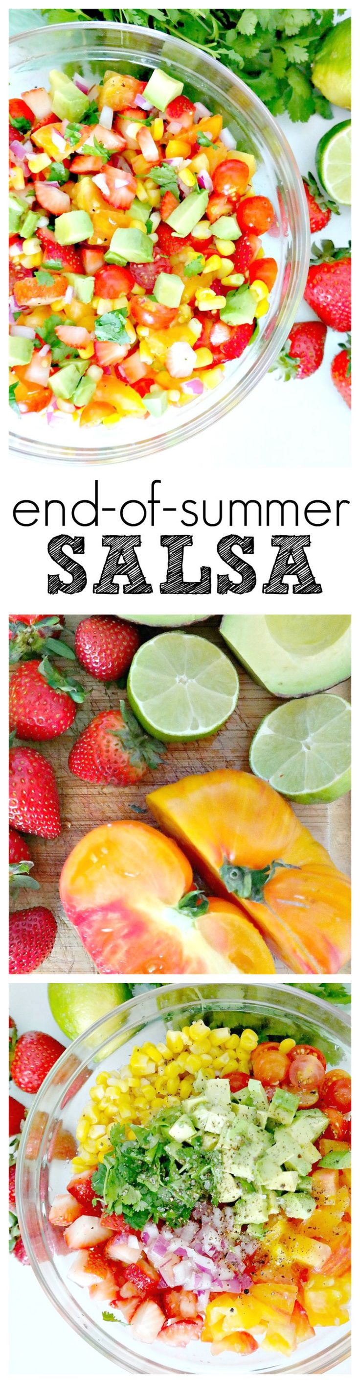 End-of-Summer Salsa. VEGAN & GLUTEN-FREE. The BEST way to finish out the summer with juicy strawberries, heirloom tomatoes, super sweet corn and ripe avocado. So easy and so addicting!! Simple, sweet and savory. #summer #salsa #vegan