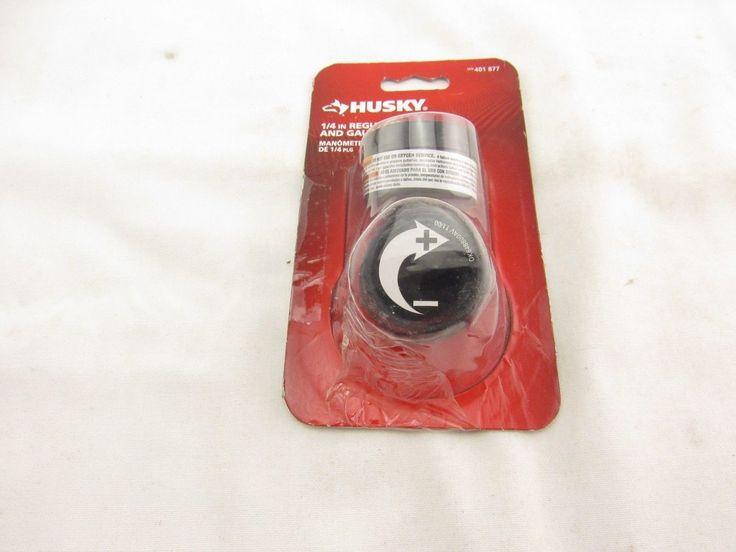 Husky 1/4 in. Black Air-Compressor Regulator with Gauge