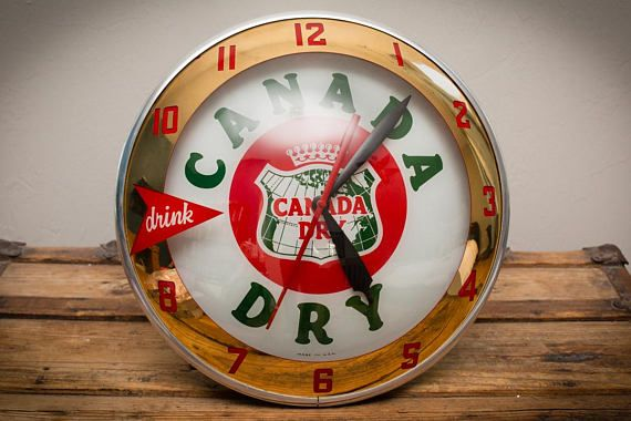 Drink Canada Dry 15 Lighted Wall Clock Double Bubble