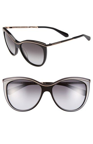 Free shipping and returns on kate spade new york 56mm cat eye sunglasses at Nordstrom.com. A metallic bar highlights the exaggerated cat-eye profile of glamorous, retro sunglasses outfitted with gradient lenses.