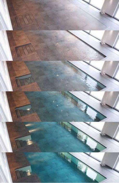 Процесс трансформации бассейна в ровный пол. Разработчики компании Hydrofloors предложили уникальную систему hidden pools, которая позволяет трансформировать бассейн в бетонный или мраморный пол и наоборот. По мере того, как покрытие начинает подниматься вверх, вся вода стекает в специальные отверстия по периметру бассейна