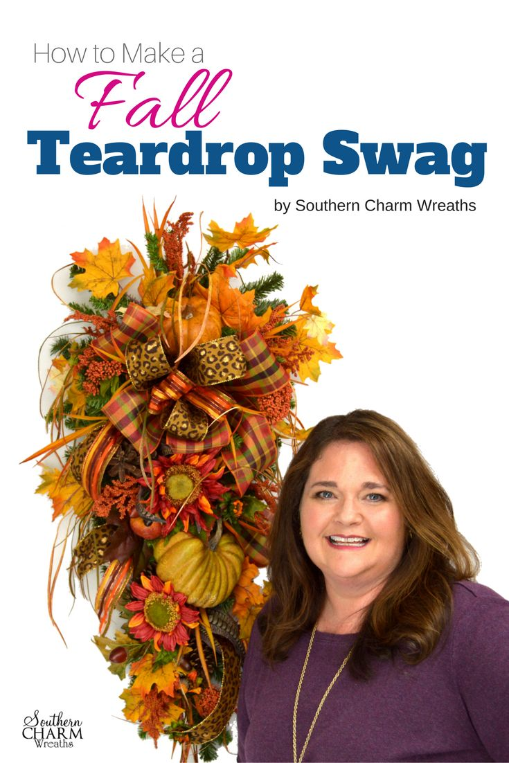 """Stop Googling and searching YouTube for a good teardrop swag tutorial.  In this downloadable, """"How to Make a Fall Teardrop Swag"""" by Southern Charm Wreaths you get detailed instructions for creating a fall teardrop swag with that designer look.  Easy enough for beginners too!"""