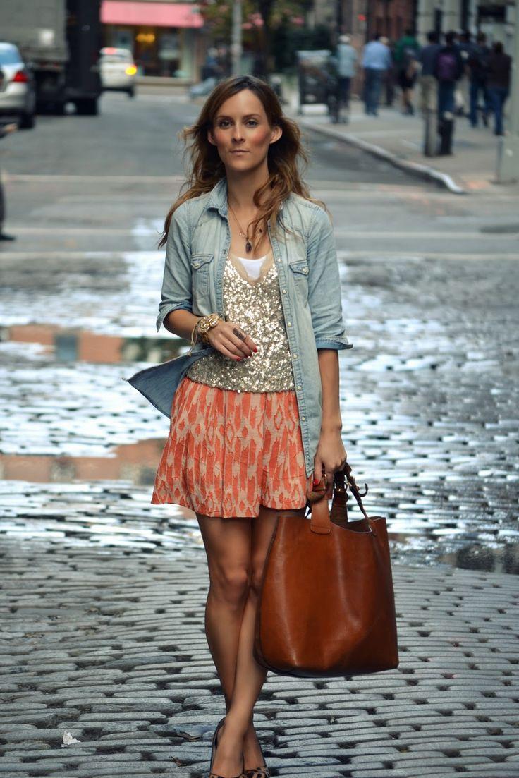 ikat skirt + sequins + leather bag
