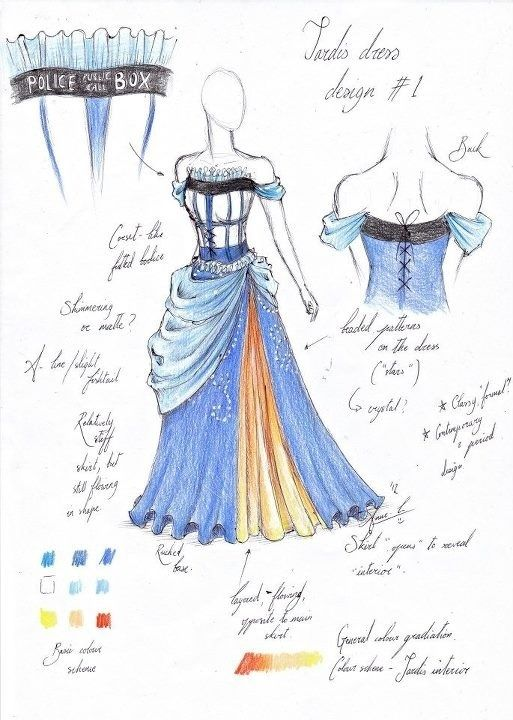 Loveliest TARDIS dress design I've ever seen... Someone needs to make this a reality! - Ok, I don't know who designed this, but it's about to become my Doctor Who cosplay for SDCC this year. For reals.