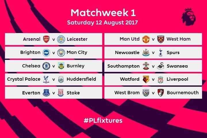 Barclays English Premier League's 2017/2018 Fixtures Released - European Football (EPL, UEFA, La Liga) - Nigeria