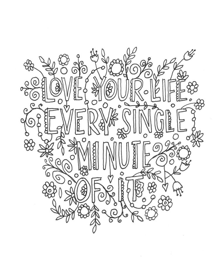 Quote Coloring Page Instant Download Line Art