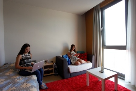 1 and 2 person rooms with batrooms have 1 or 2 single bed, refrigerator and TV. 3-person rooms with bathrooms are furnished with a double-deck bed, a normal bed and mattresses while  3-person rooms without bathrooms have three units of full loft beds. 4-person rooms do not have en-suite bathrooms  and are furnished with double-deck beds.