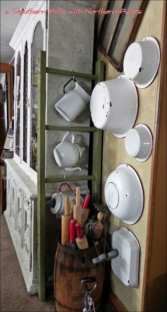 enamel ware  ~ neat display ... ~