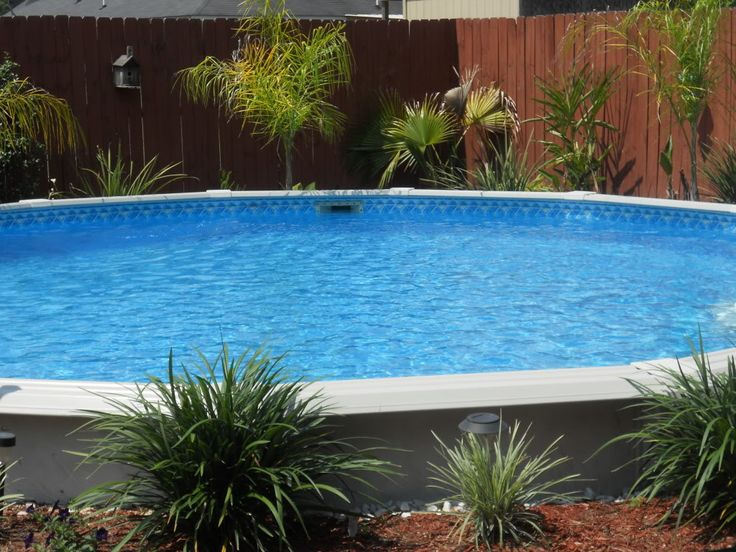 Landscaping Rocks Around Above Ground Pool : Above ground pool landscaping around base of