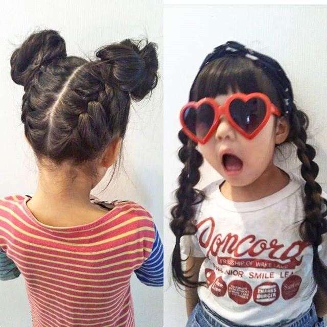 Erina0127atu 今日の髪型 長女 編み上げツイン団子 次女 ターバンに