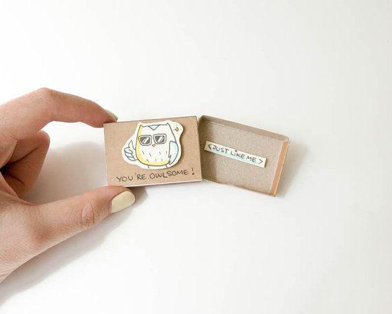 "Lustige Eule Friendship Card ""Du bist Owlsome"" Matchbox / Geschenkbox / Alarmbox / Awesome Eule / OT037"