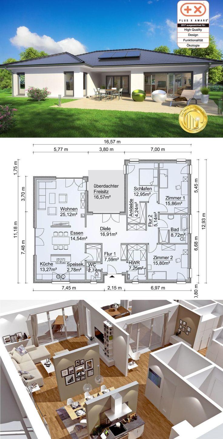 Moderner Bungalow Haus Grundriss in Uform mit Walmdach