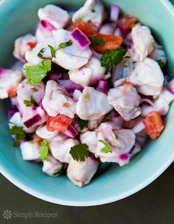 Ceviche ~ Classic ceviche (or seviche) recipe in which cubes of red snapper are cooked by lime and lemon juice.  Traditional Latin American method to prepare fresh fish. ~ SimplyRecipes.com