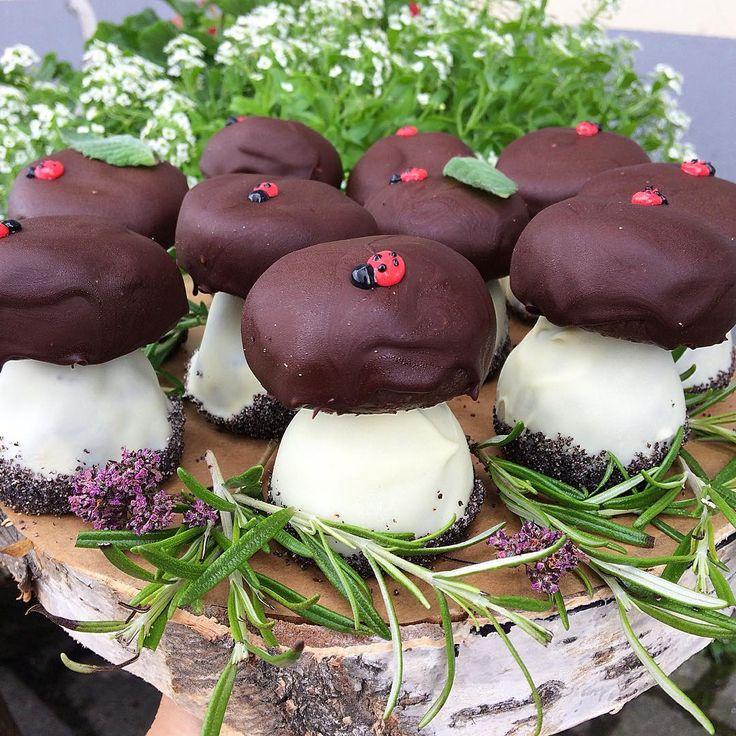 """В лесу выросли грибочки, и у нас выросли грибочки😉 """"Картошка"""" по нашему фирменному рецепту с добавлением шоколада и орешков, снаружи натуральный шоколад из Колумбии и маленькая божья коровка из сахарной глазури😊 Посвящение моему любимому другу, который считает, что кондитерская не может быть полноценной, если в ней нет """"картошки""""😉😂😂"""