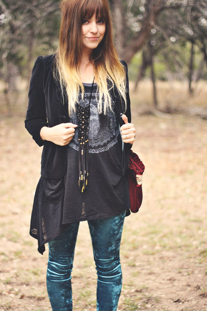 how to wear black velvet top
