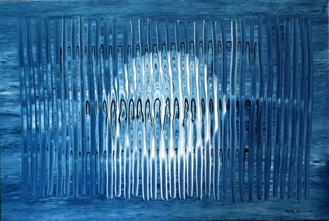 Rosella Namok  Blue Water  2011  synthetic polymer paint on canvas  62 x 93 cm  $3,000 AUD