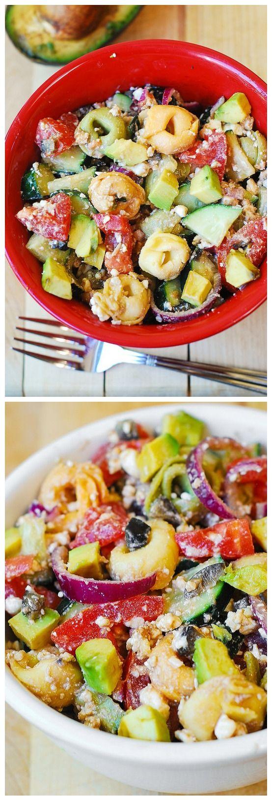 Greek Tortellini Salad Tomatoes, Avocados, Cucumbers
