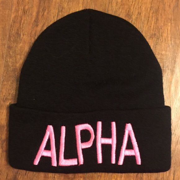 Alpha Female beanie NWOT - Alpha Female beanie. Black with pink embroidery. Too big for my head so only tried it on. Super cute & sporty! Accessories Hats