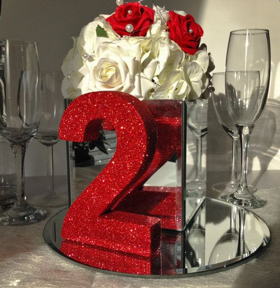 Set of 6 red glitter table numbers Wooden Freestanding glitter