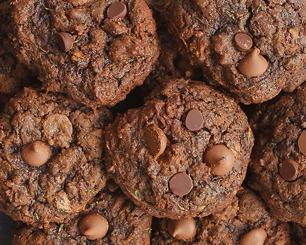 Triple Chocolate Zucchini Cookies Recipe Desserts with semi-sweet chocolate morsels, all-purpose flour, cocoa, baking soda, salt, butter, sugar, brown sugar, eggs, vanilla, milk chocolate chips, zucchini