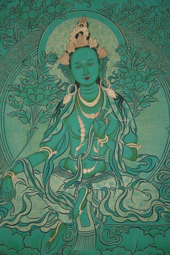 "Green Tara - In Tibetan Tara is Drolma which means ""She Who Saves""."