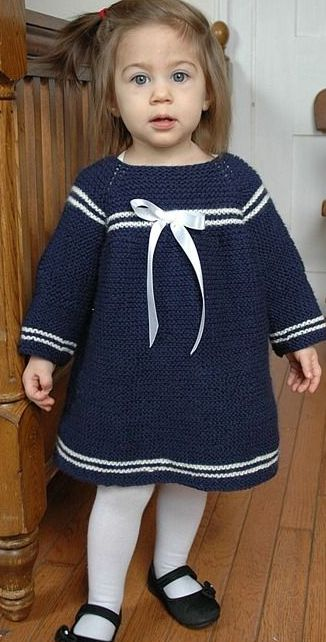 Sweet Sailor Knit Dress Pattern | You'll love your little sailor in this knit dress!