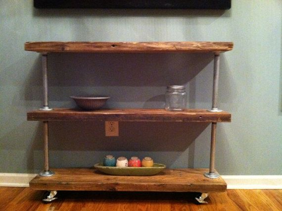 bar cart, buffet, make my day! 3 reclaimed planks (or new), 4 pipes, 8 flanges, 16 screws, 4 wheels.