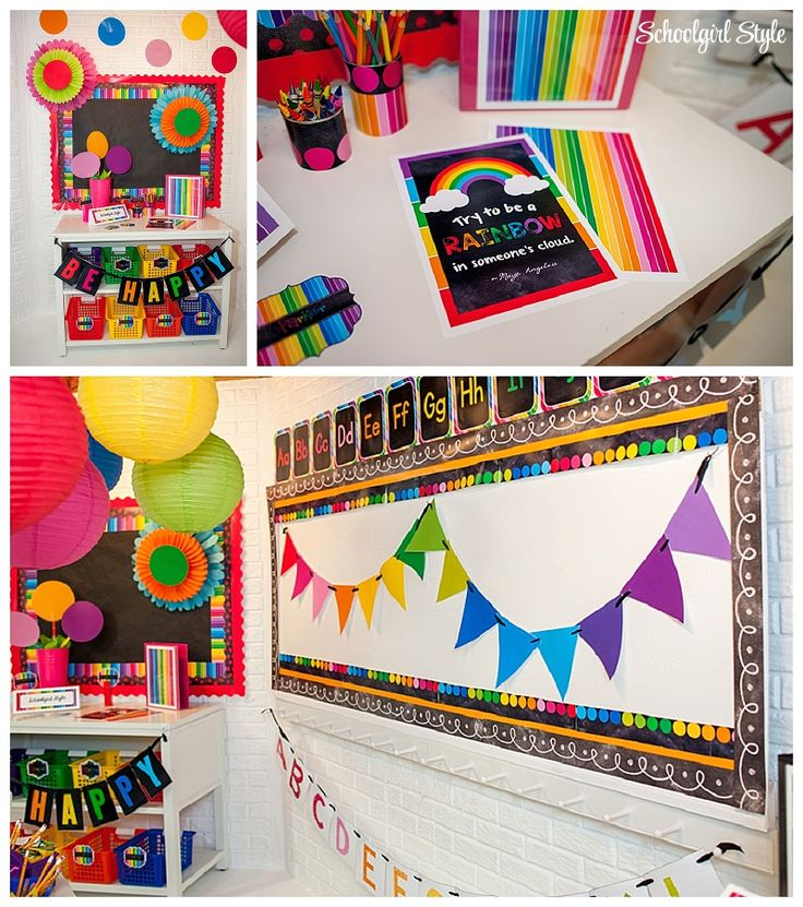 Happy Rainbow Inspiration: Do you remember the room that I designed for Maria Manore fromKinder Craze? Oh my goodness! Everyone LOVED this collection! Maria did an amazing job putting this room together and she created such a beautiful learning environment for her Kindergarten students. Here is a photo… To see Maria's entire room, clickHERE There were several people that emailed me afterwards and explained that they adored this collection, however,