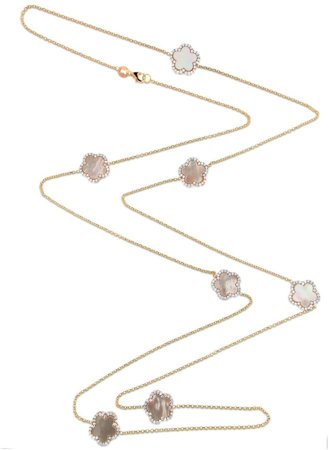 Cosanuova - Gold Mother Of Pearl Clover Necklace