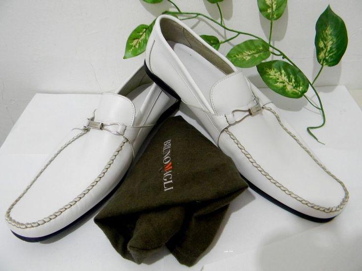 Bruno Magli Mens White Loafer Dress Shoes Size US 11.5 NEW #BrunoMagli #LoafersSlipOns