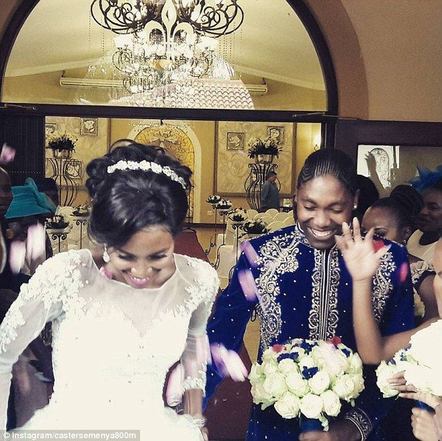 Caster Semenya married her long time partner Violet Raseboya in an extravagant 'white wedding' ceremony yesterday, pictured