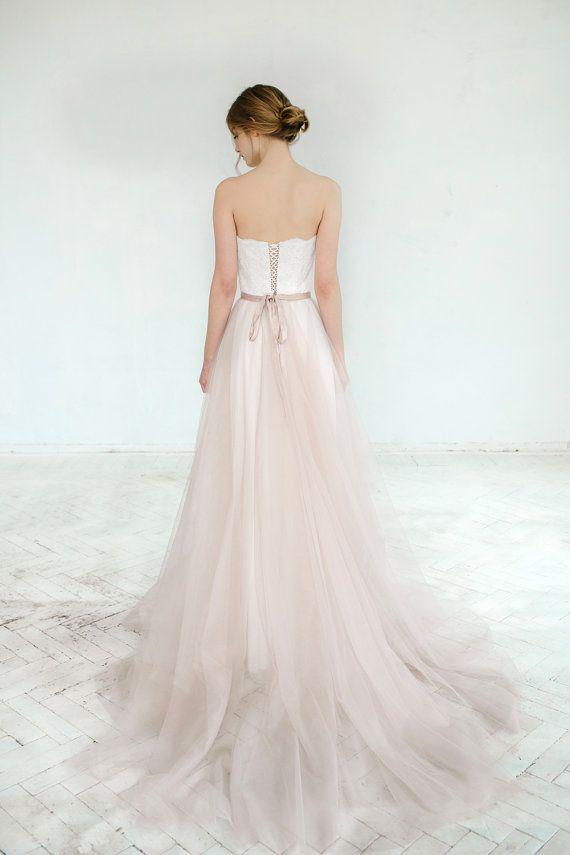 Blush wedding gown // Dahlia / Sweetheart corset wedding dress, lace bridal gown, blush tulle skirt, bridal separates, A line dress