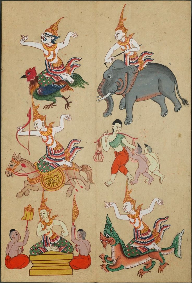 Hand-painted illustrations of zodiac figures accompanied by Thai text from an undated paper accordion manuscript. These are just gorgeous. Several at the source.