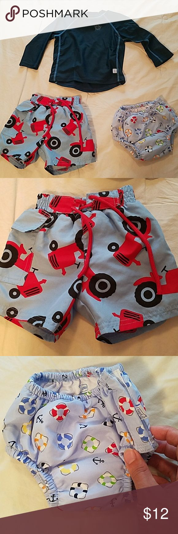 iPlay Swim Bundle Three pieces - tractor swim trunks, excellent condition size Small - see pic for iPlays size description. Anchors and life preserver swim bottoms size Medium (6-12 months). iPlay rash guard, turtle is somewhat faded and cracked, material is otherwise fine. Bottoms are both functional as cloth swim diapers (although I always added a disposable). Bundles of 2 or more kids or maternity listings listings are 15% off, just ask. Swim