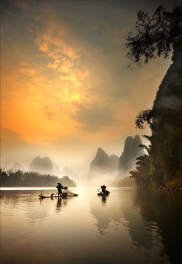 The Morning Fisherman in Guilin, China