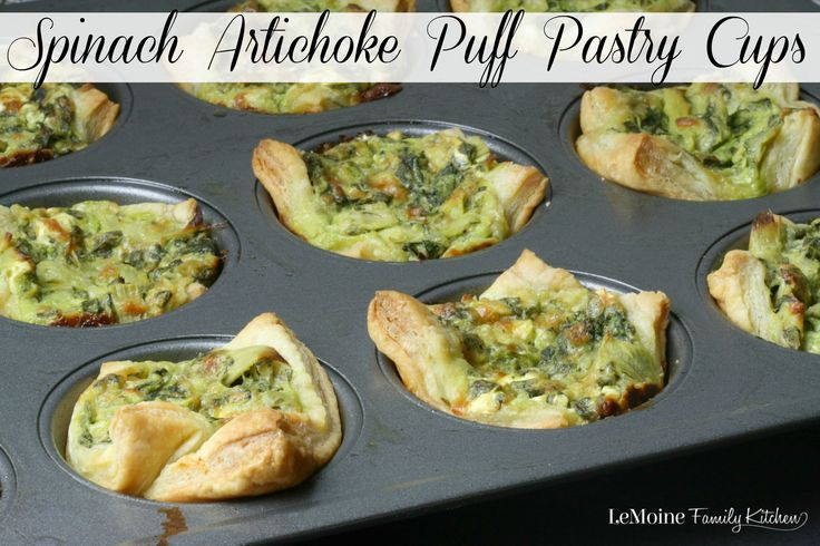 Spinach Artichoke Puff Pastry Cups. These puff pastry cups are so easy to make and such great flavor! Perfect party food appetizer!