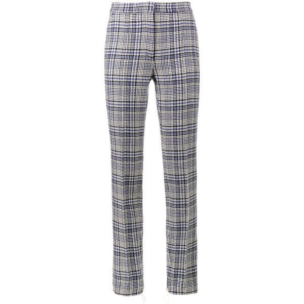 Off-White Tartan High Waisted Trousers ($782) ❤ liked on Polyvore featuring pants, blue, high-waisted pants, high-waisted trousers, high rise trousers, blue plaid pants and high waisted pants