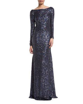 f2c4fae6 Long-Sleeve+Low-Back+Sequin+Evening+Gown+by+Naeem+Khan+at+Bergdorf+Goodman.