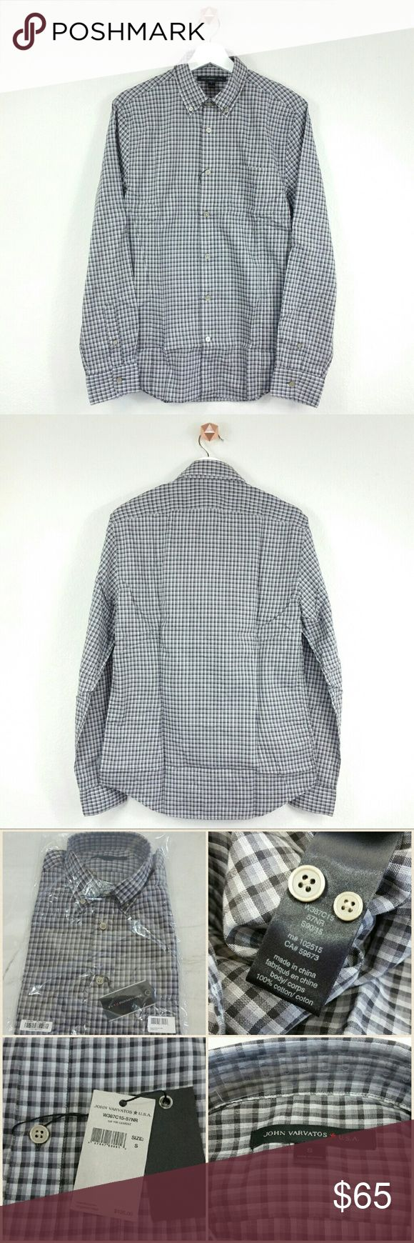 JOHN VARVATOS STAR USA checkered sportshirt Button down collar and closure. Chest patch pocket. Rolled tab sleeve. Barrel cuffs with double button closure. Curved hem. Tonal top stitching and panel seaming. Checkered print throughout. Fabric: 100% cotton. Color: grey-white checkered Size: S.  NWT. Never worn. Can provide more pictures and info upon request. Reasonable offer only please :) John Varvatos Shirts Casual Button Down Shirts