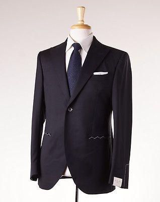 NWT $1050 LUIGI BIANCHI SARTORIA Black Peak Lapel Blazer 50/40 R Sport Coat