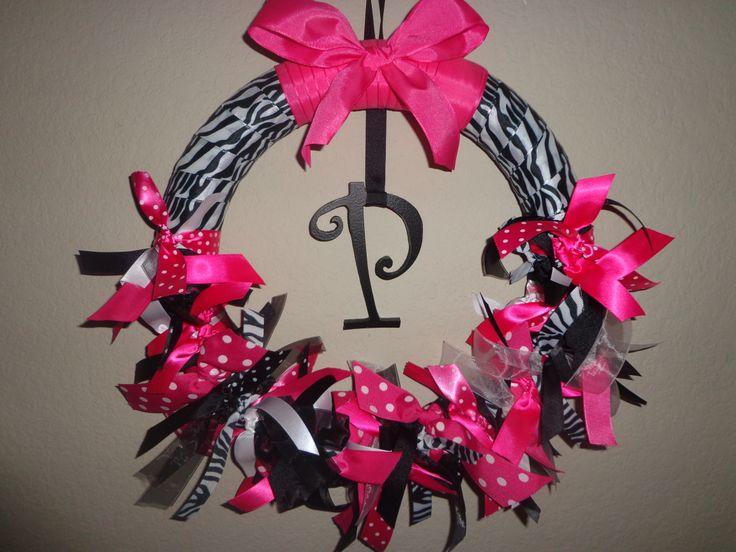 The wreath I made my new baby niece... #zebra #print #wreath #baby #newborn #girl