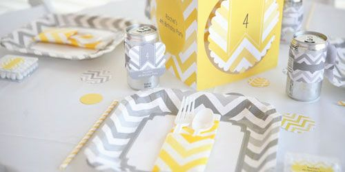 Yellow and Gray Chevron Party Theme - Chevron party supplies for baby showers and birthday parties from @BigDot